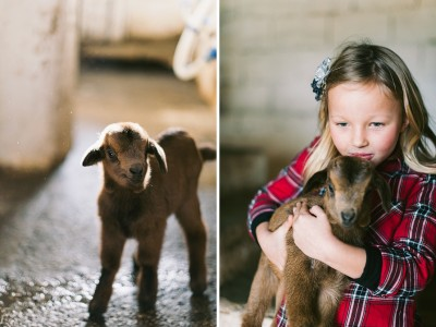 Village girls on a goat farm.